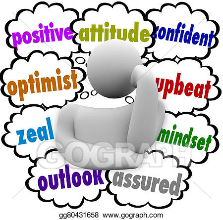 Positive clipart positive mindset. Stock illustration thought clouds