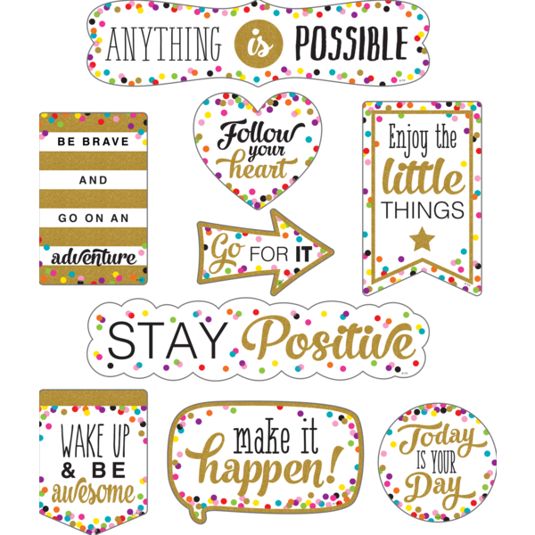 Positive clipart positive mindset. Clingy thingies confetti sayings