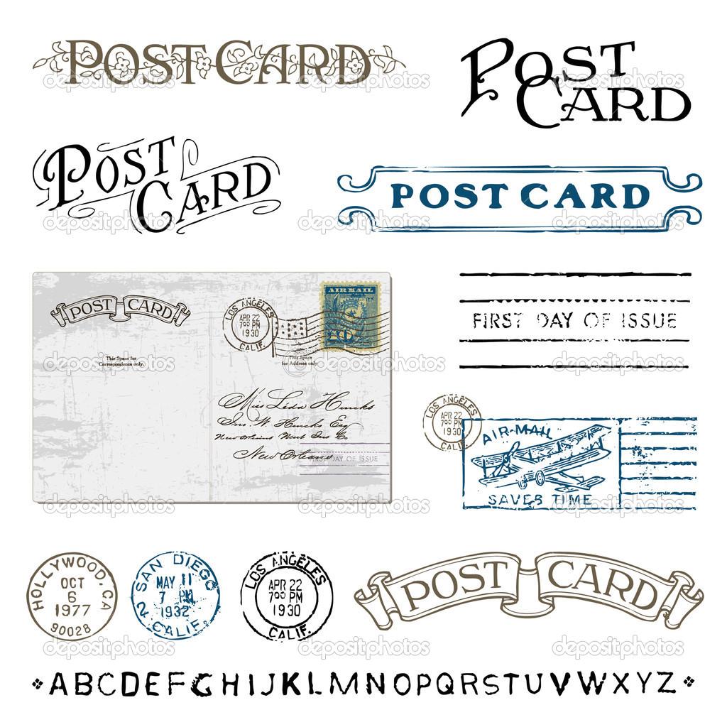Postage . Postcard clipart