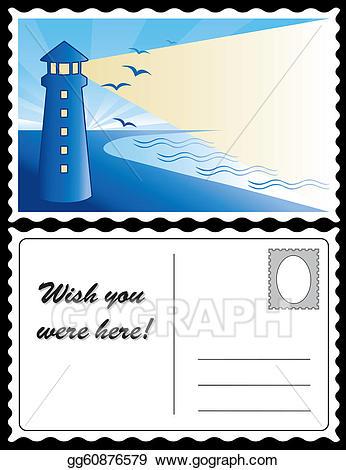 Vector art lighthouse at. Postcard clipart