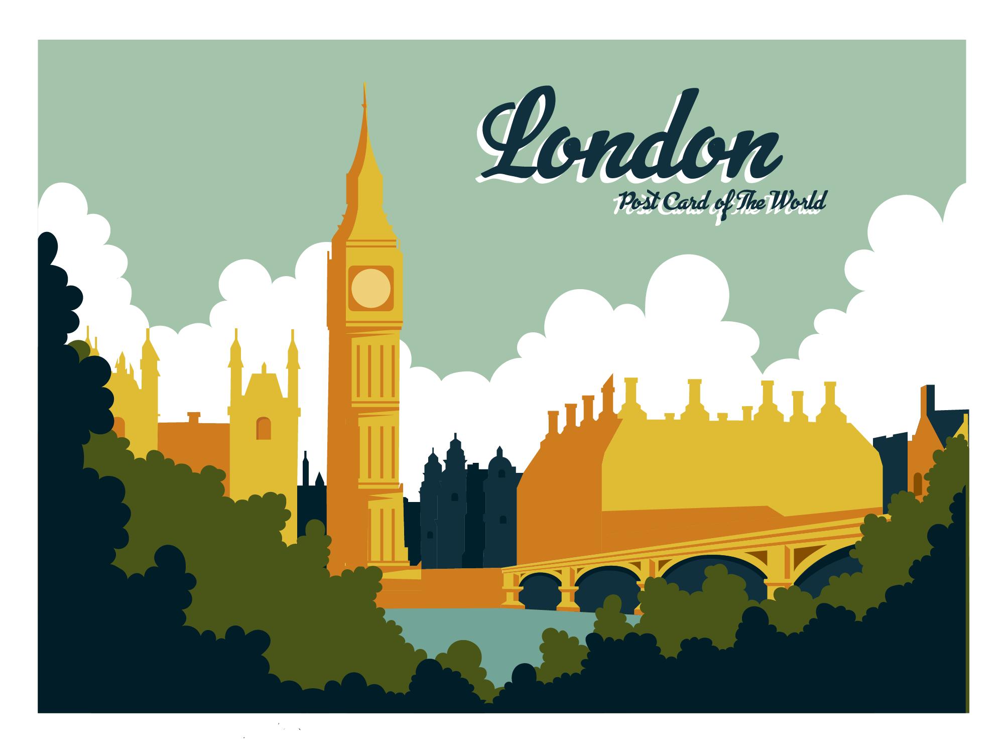 Postcard clipart postcard london. Vector vecteezy mention site