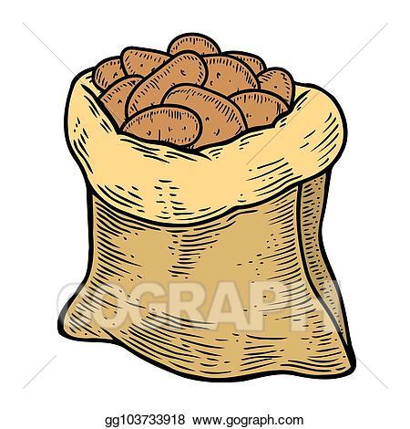 Potato clipart sack potato. Eps illustration burlap full