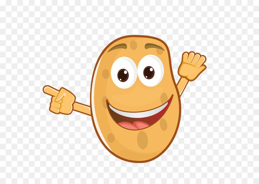Food icon background yellow. Potato clipart smile