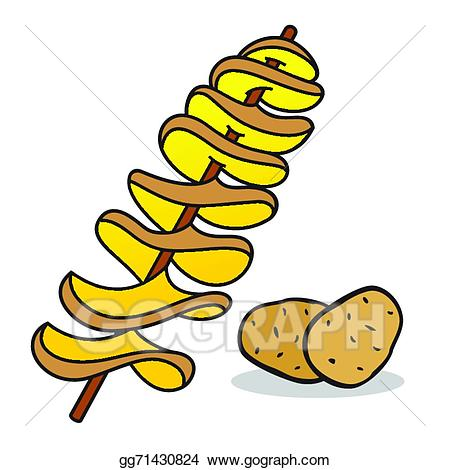Potato clipart spiral potato. Vector art eps gg