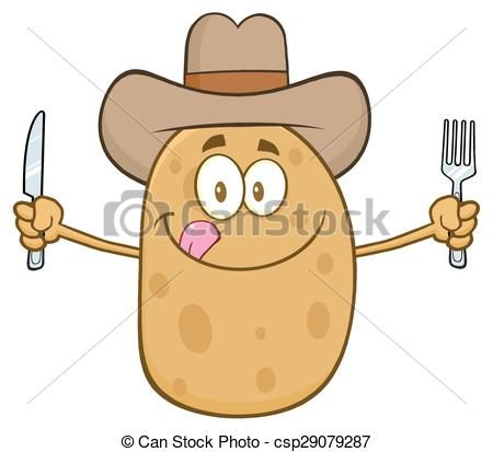 Potato clipart vector. Cowboy cartoon character stock