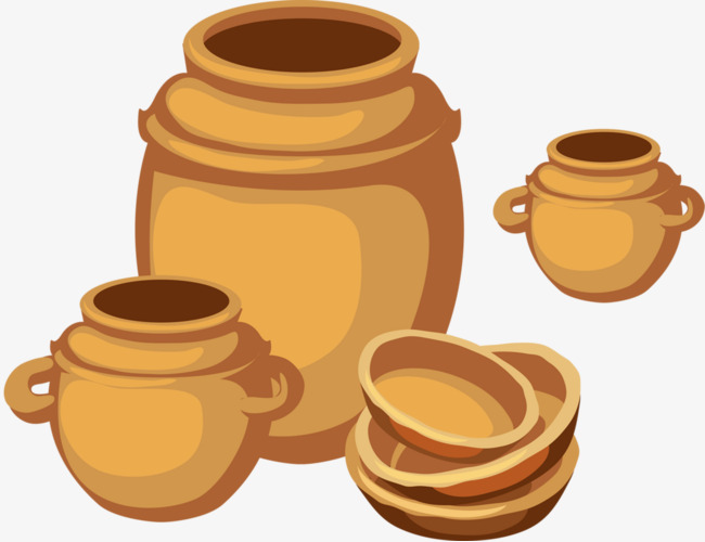 Hand painted container png. Pottery clipart
