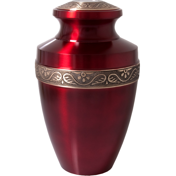 Red cremation urns metal. Vase clipart urn