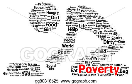 Poverty clipart. Stock illustration word cloud