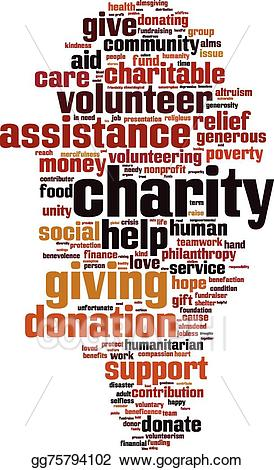 Vector stock charity word. Poverty clipart almsgiving