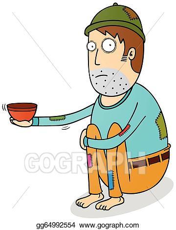 Poverty clipart begging bowl. Vector stock beggar illustration