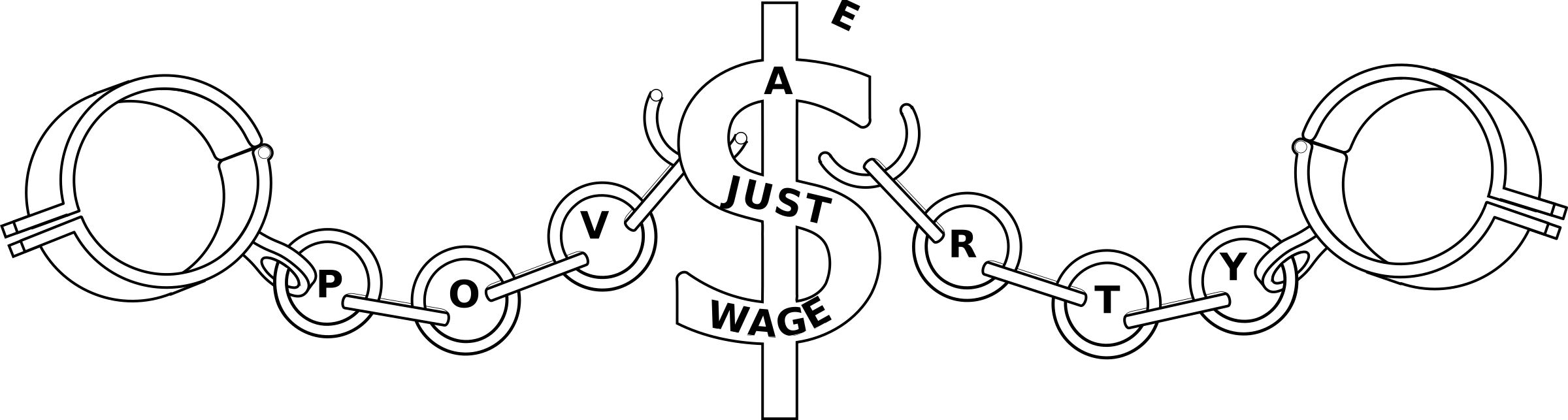 A fair wage breaking. Poverty clipart black and white
