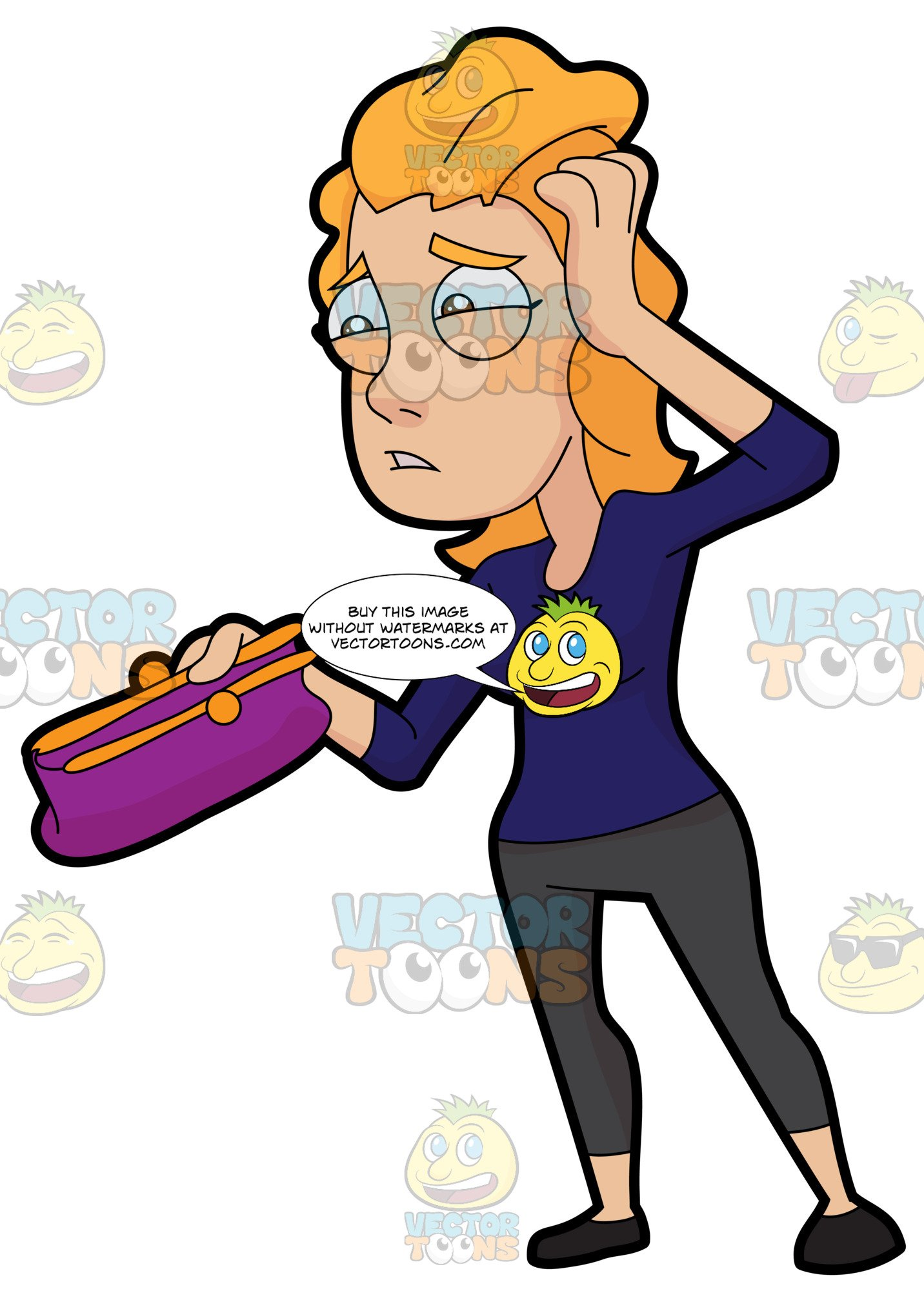A stressed and woman. Poverty clipart broke person