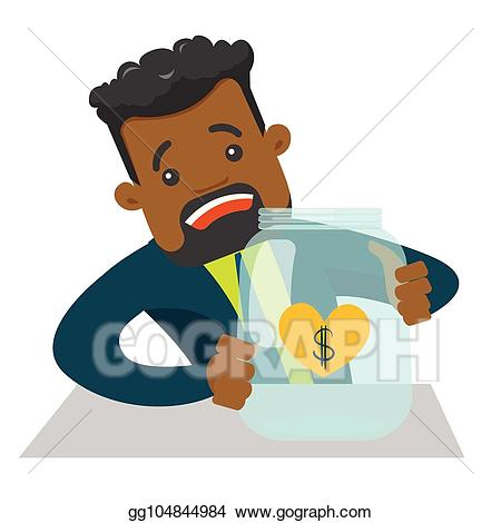 Vector worried businessman looking. Poverty clipart creditor