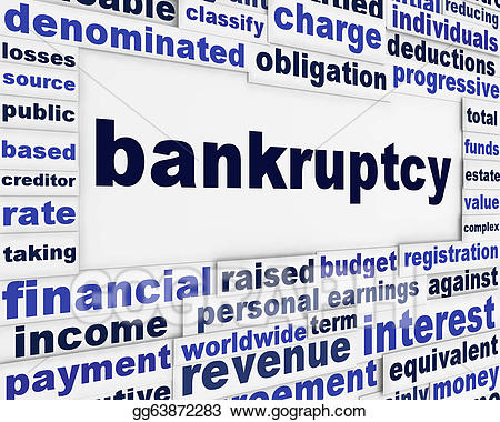 Poverty clipart creditor. Stock illustration bankruptcy word
