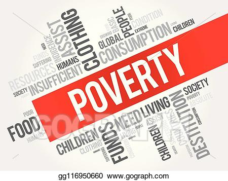 Poverty clipart indigent. Vector word cloud collage