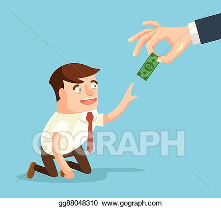 Poverty clipart low salary. Eps illustration boss giving