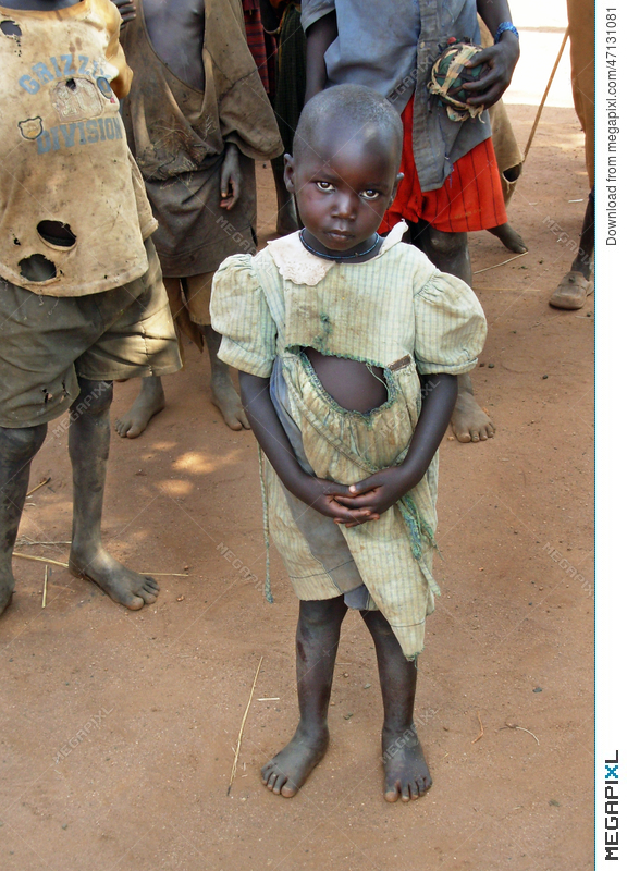 Suffers effects drought famine. Poverty clipart orphan girl