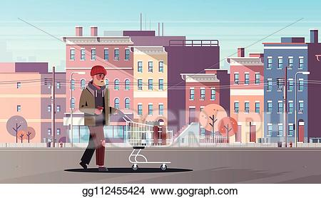 Eps illustration man pushing. Poverty clipart poor town