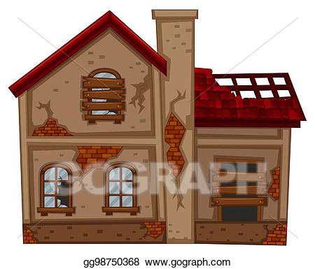 Poverty clipart poor working condition. Eps illustration brick house