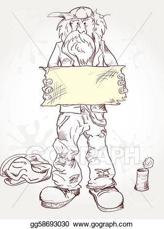 Poverty clipart tattered clothes. Beggar with a sign