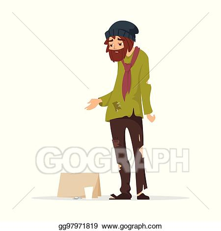 Vector illustration poor man. Poverty clipart torn clothes
