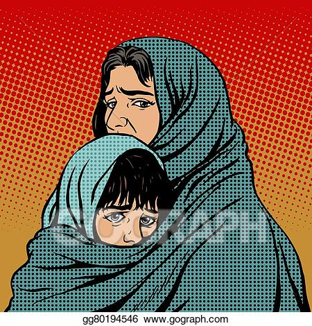 Poverty clipart worried family. Vector art refugee mother