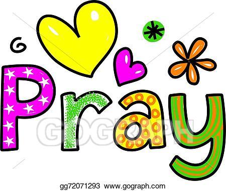 Pray clipart. Stock illustration cartoon text