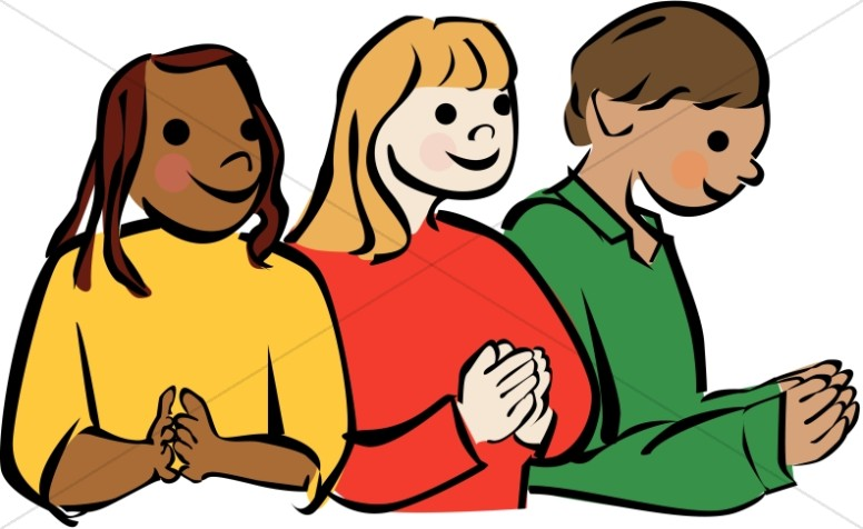 Culturally diverse children praying. Pray clipart