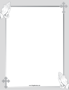 The gray hands in. Pray clipart border