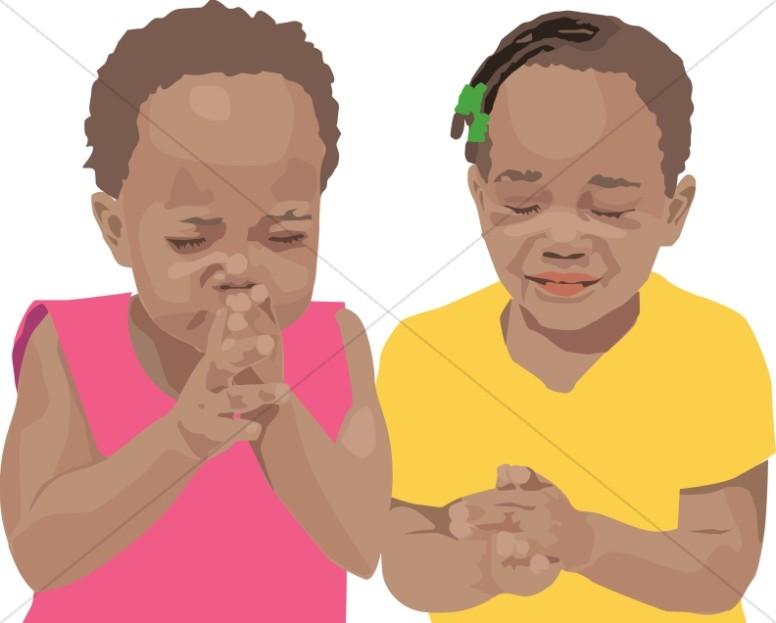 Two children praying prayer. Pray clipart childrens