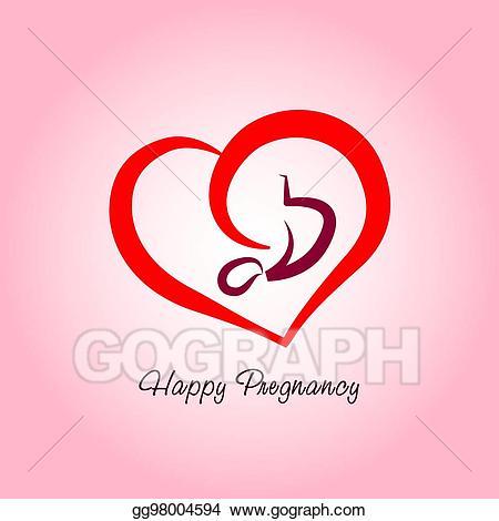 Pregnancy clipart happy. Vector logo illustration