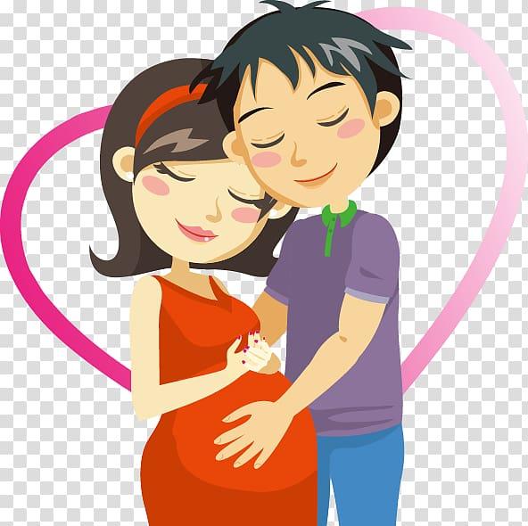 Cartoon hand drawn heart. Pregnancy clipart happy