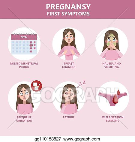 Vector art first symptoms. Pregnancy clipart pregnancy symptom