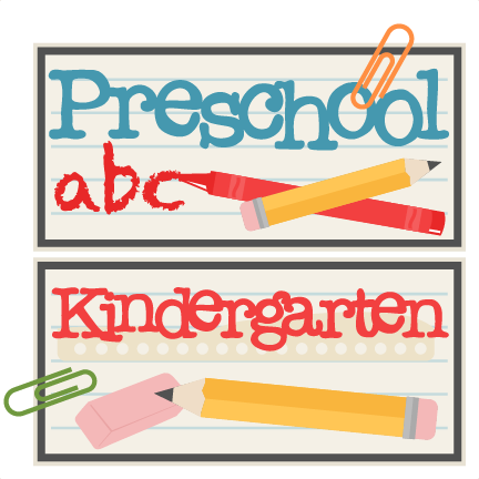 Scrapbook clipart preschool. And kindergarten titles svg