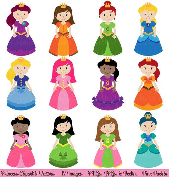 Princess clipart. Clip art fairytale vectors