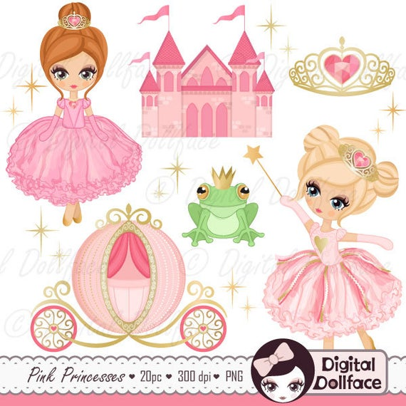 Pink and gold little. Princess clipart princess party