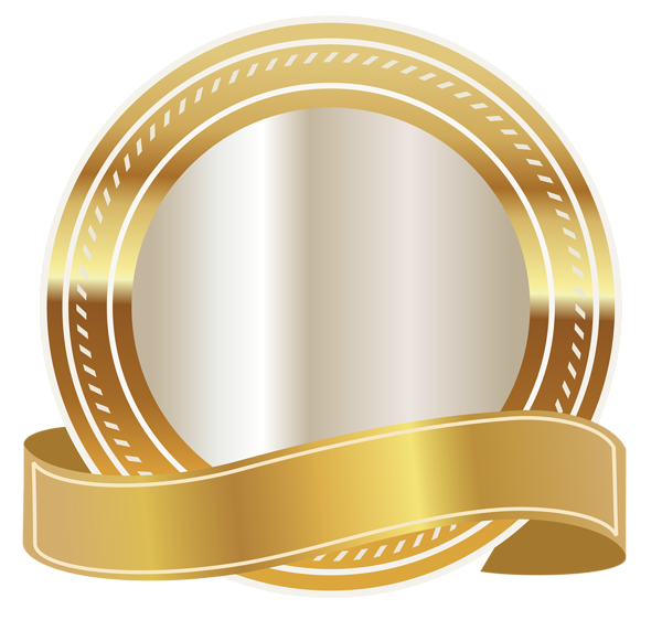 Gold with ribbon png. Seal clipart happy