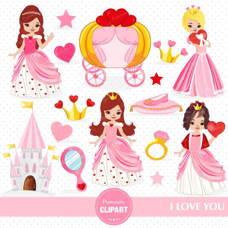 Valentines heart day love. Princess clipart valentine
