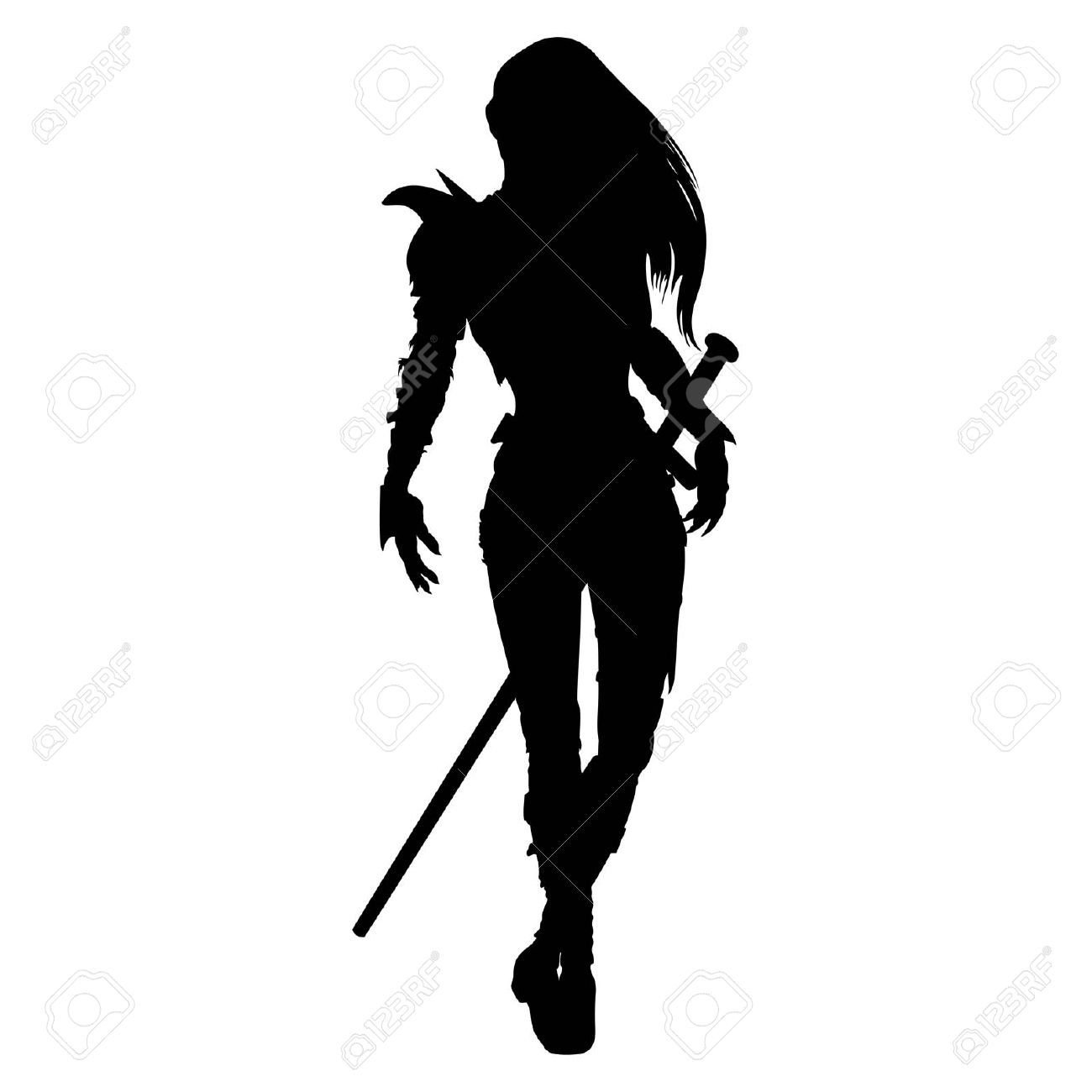 Cliparts stock vector and. Warrior clipart female warrior