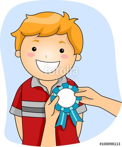 Prize clipart kids. Kid boy ribbon award