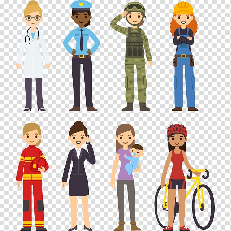 Profession female illustration women. Professional clipart boy