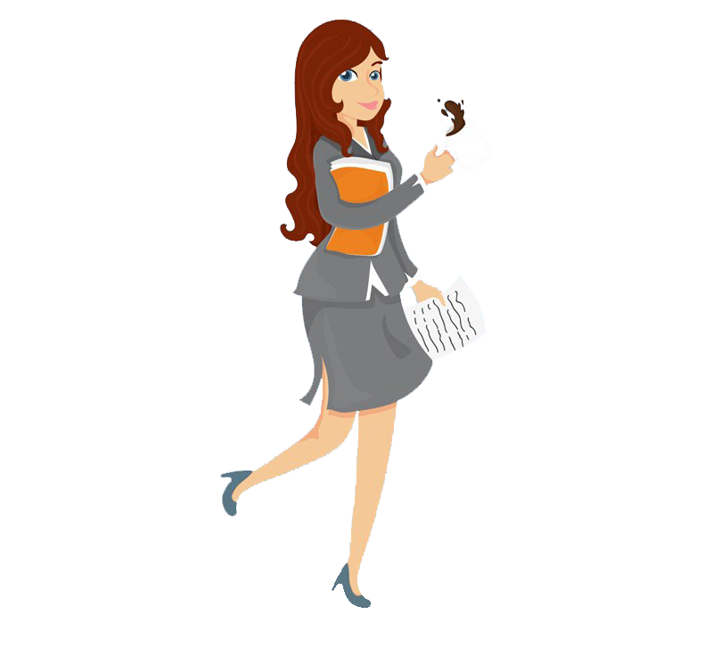 Woman management service cartoon. Professional clipart business person