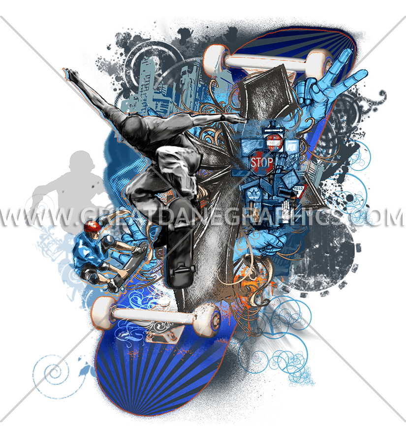 Skateboard production ready artwork. Professional clipart collage