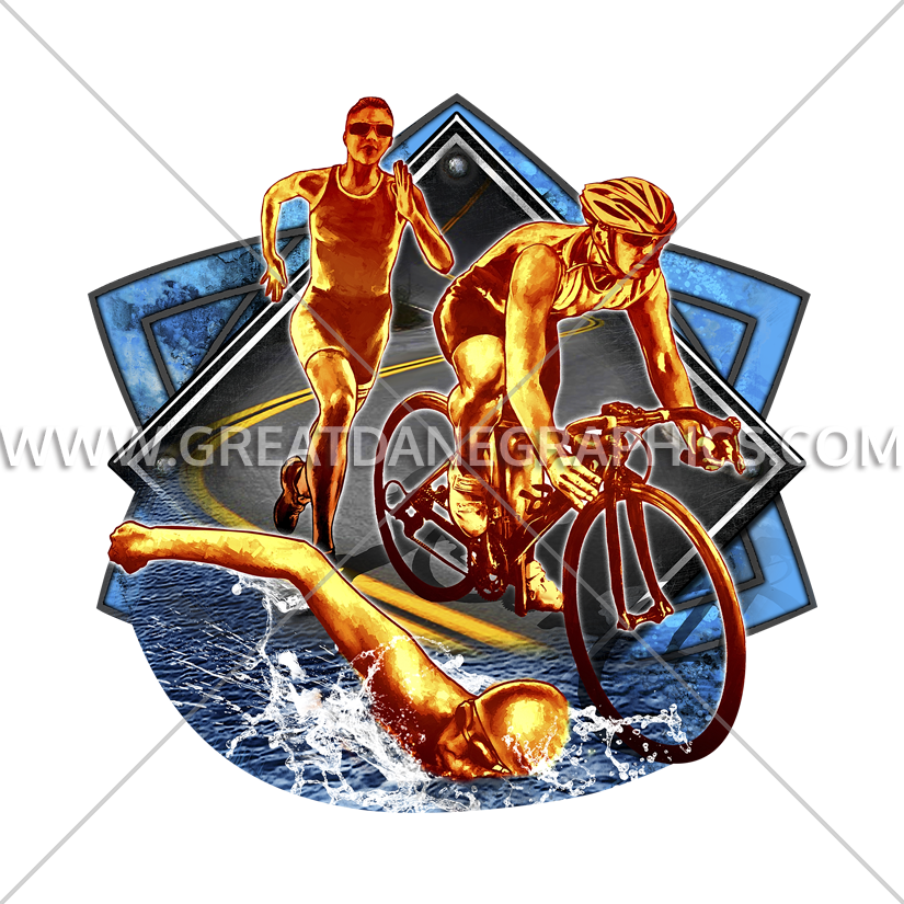 Professional clipart collage. Triathlon production ready artwork