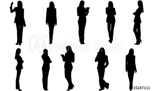 Business woman silhouette female. Professional clipart corporate person