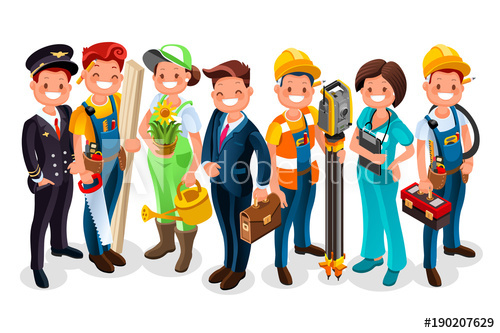 Professional clipart different profession. Labor day vector worker