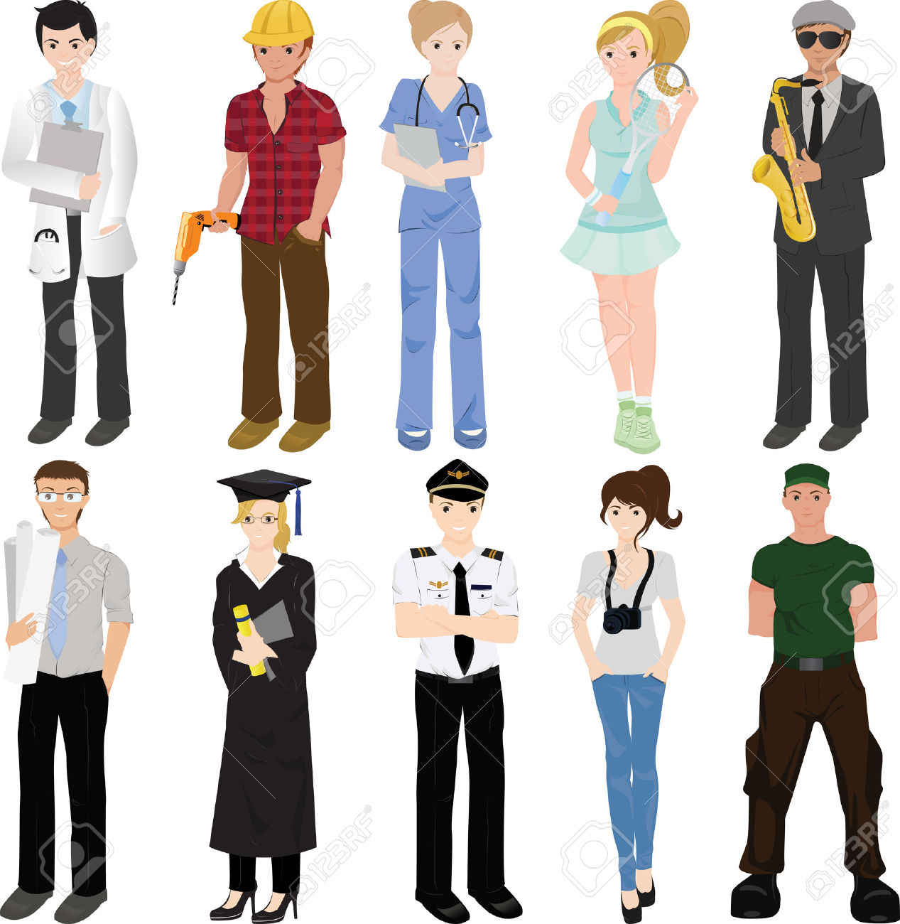 Professionals station . Professional clipart different profession