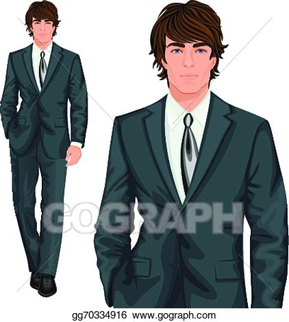 Vector art young businessman. Professional clipart one man
