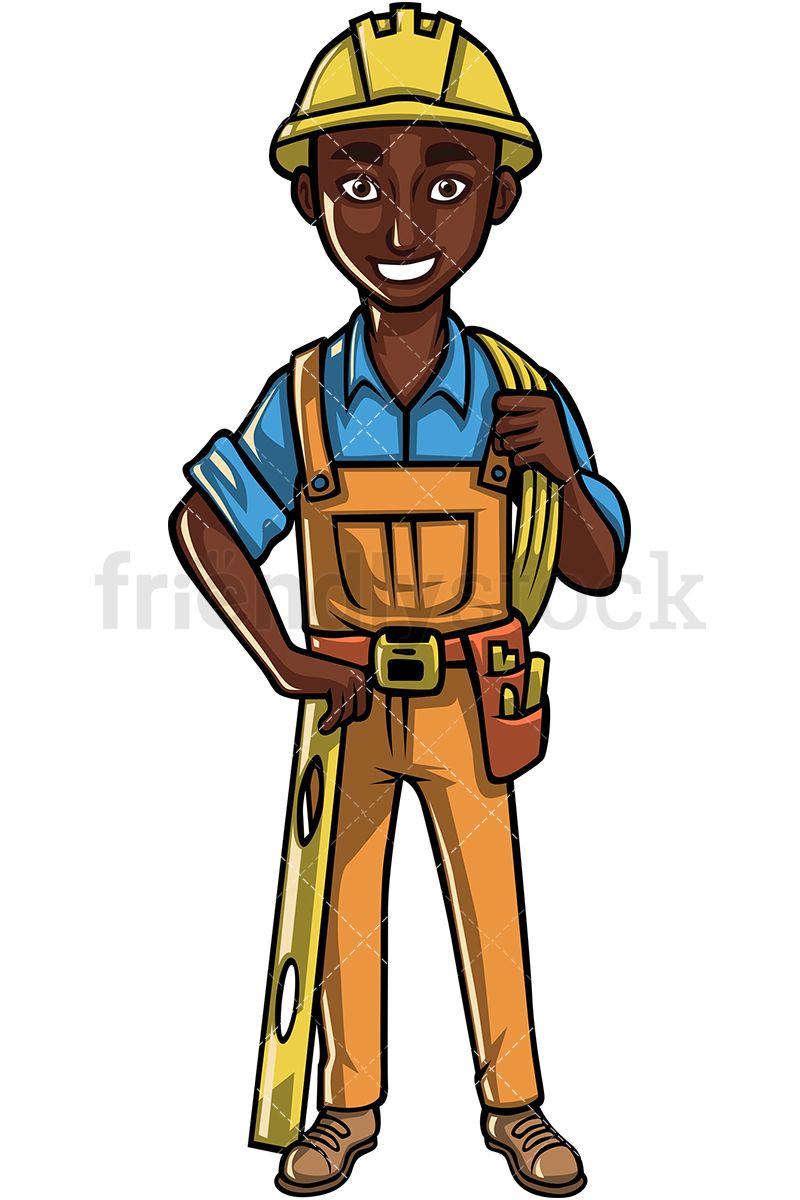 Black construction worker pabrik. Professional clipart profession