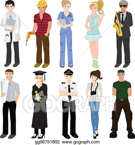 Eps vector workers collage. Professional clipart professional worker